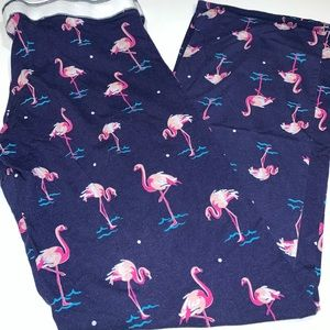 PJ Salvage Pajama Pants Blue Flamingo Print Medium